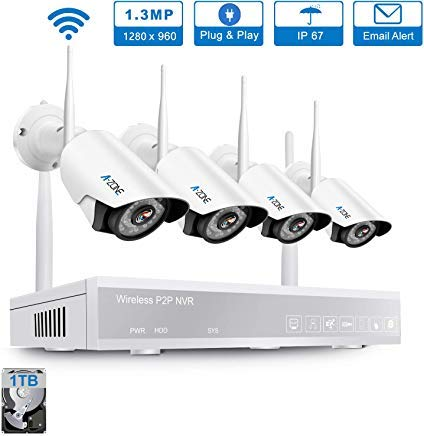 A-ZONE Outdoor Security Camera System Wireless with 4pcs IP Cameras (4CH 4PCS 960P Wireless Security Camera System 1TB Hard Drive)