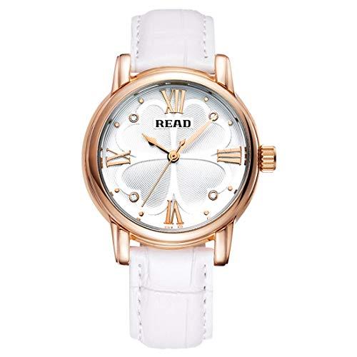 Reloj Número Escala MCY Leer Romana trébol de Cuatro Hojas dial diseño Cuarzo Reloj con Banda de Cuero Genuino (Negro) (Color : White)