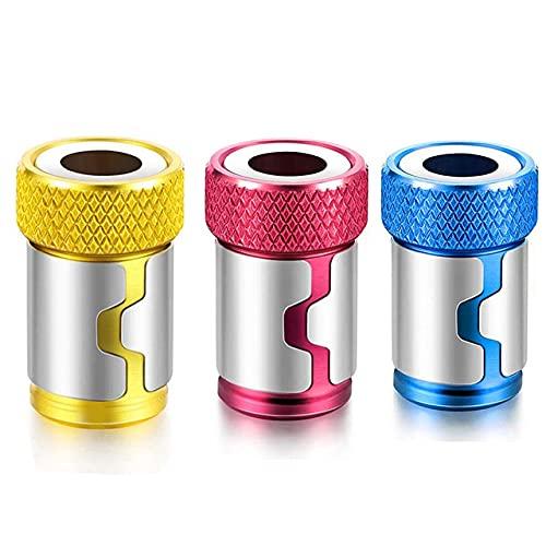 Anillo magnético de broca de destornillador de metal de 1/4'para broca de taladro anticorrosión con vástago de 6,35 mm, anillo magnético colorido, 3 uds.