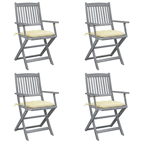 Festnight Klappbare Gartenstühle 4 STK. Klappstuhl mit Cremeweiß Kissen Terrassestuhl Rückenlehnestuhl Balkonstuhl Massivholz Akazie