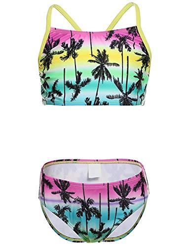 DUSISHIDAN Zweiteiliger Bikini Bademode fürKinderMädchen Sommer Swimsuit Gelber Kokosnussbaum XL