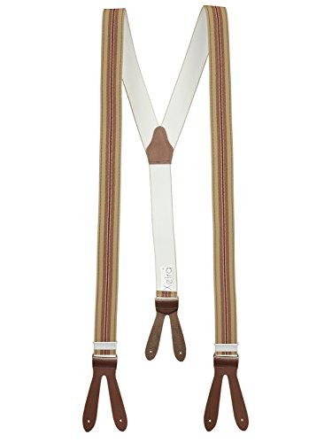Xeira Beige Braun Gestreifte Hosenträger mit Braunen Lederriemen zum Knöpfen für Herren und Damen