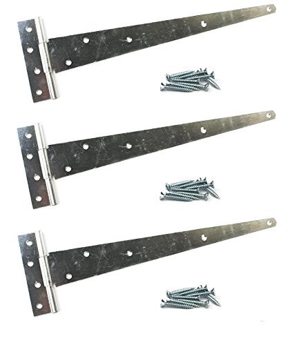 3X Galvanised Tee Hinges 24' 600mm Long Very Heavy Duty Gate Shed FIXINGS Included