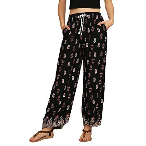 Dasongff dames hippie harembroek capri Thai broek licht met zakken, dunne boho etno bloemenpatroon strand zomerbroek yogabroek palazzobroek Small zwart