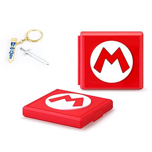 Estuche de Almacenamiento para Juegos Compatible con Nintendo Switch, Estuche rígido portátil y Delgado, Estuche de Almacenamiento con 12 Ranuras para Tarjetas para Switch (Mario Rojo M)