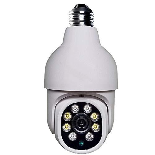 Mini domo PTZ cámara wifi con fuente de alimentación de casquillo de bombilla E27, visión nocturna a todo color, detección de movimiento, 1080P 2MP HD