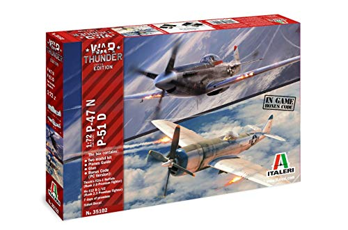 Italeri 35102-Maqueta de Coche (Escala 1:72, P47N y P51D War Thunder Video GS), Color Plateado (35102)