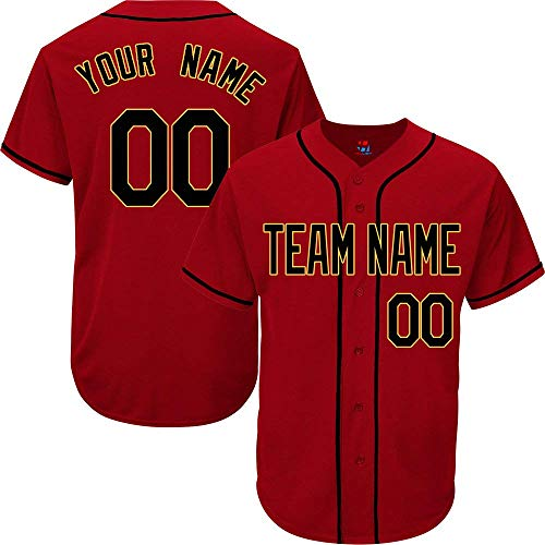 Scarlet Custom Baseball Jersey for Men Women Youth Button Down Embroidered Your Name & Numbers S-5XL