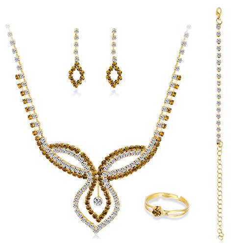 DAKIFENEY Juego de joyas de novia para mujer, para boda, con forma de lágrima de cristal, para puerta