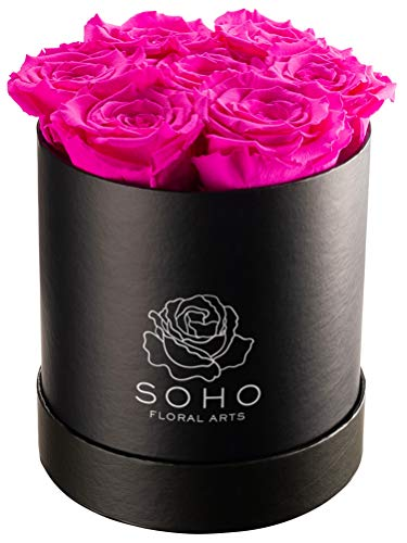 Soho Floral Arts | Real Roses That Last a Year and More| Fresh Flowers |Eternal Roses in a Box (Radiant Pink 7 X-Large Roses)