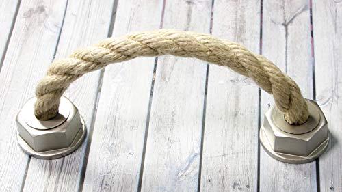 LGM-Beschlag Möbelgriff Rope, Landhaus, Vintage, Seil, Kunststoff metallisiert - warmgrau, Schnur - beige, 165 mm x 50 mm x 37 mm, LA 128 mm, 51532