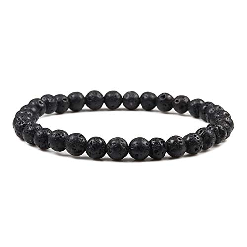 Stone bead bracelet 6mm Women Men Bracelets Small Natural Stone Beaded Thin Bracelet Bangles Yoga Charms Jewelry Gifts Unisex Fashion casual (Metal Color : Lava)