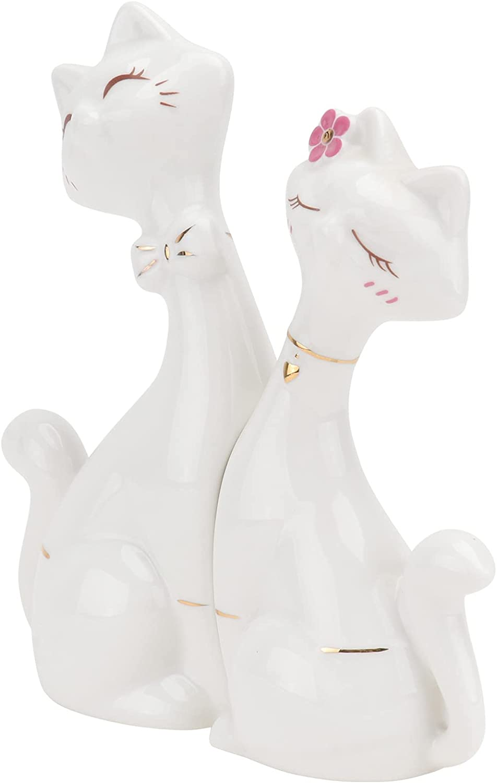 Overseas Minneapolis Mall parallel import regular item ULTNICE 2PCS Ceramic Cat Figurine F Home Animal Decor Crafts