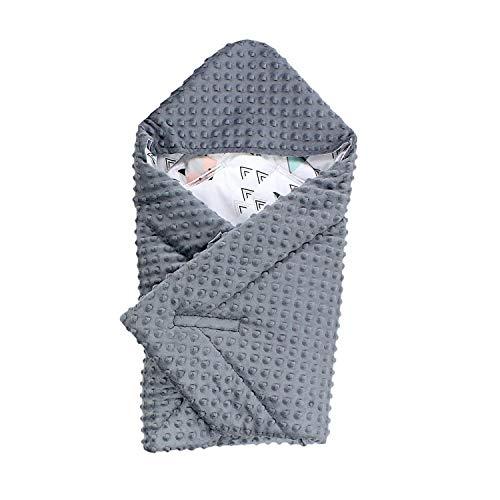 TupTam Baby Winter Einschlagdecke für Babyschale Wattiert, Farbe: Grau/Fuchs Mint, Größe: ca. 75 x 75 cm