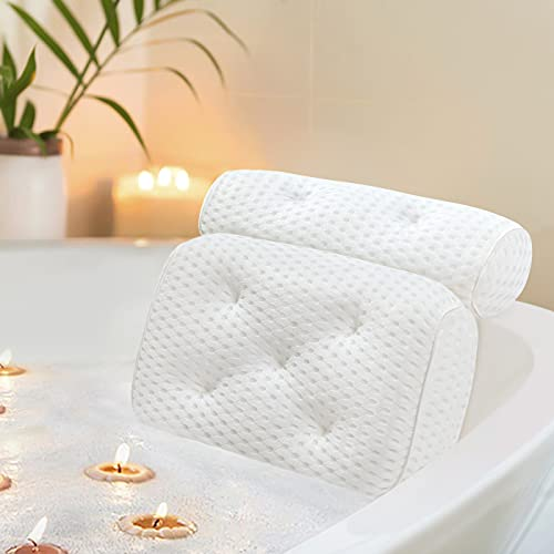 Docilaso Bath Pillow, Bathtub Pillow with 4D Air Mesh Technology and 7 Suction Cups - Comfortable for Shoulder, Neck Support, Great for all Bathtub, Hot Tub, Jacuzzi and Home Spa