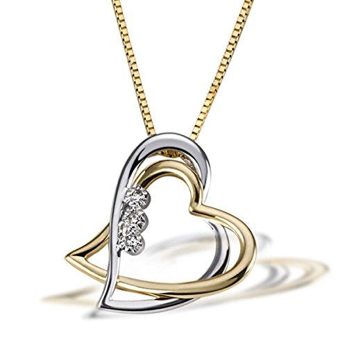 Goldmaid Damen-Halskette Bicolor Gold 2 Herzen 3 Diamanten 0,03 Karat Herzanhänger Diamantkette