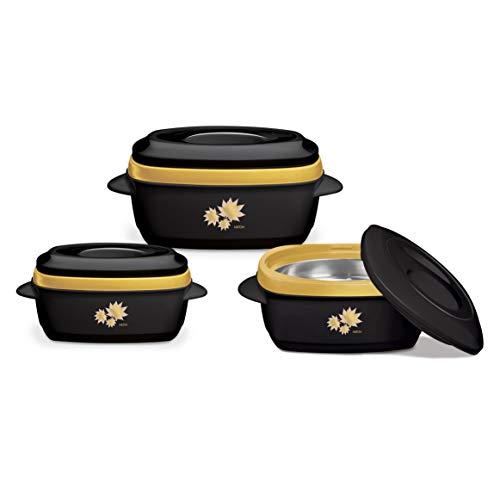 SQ Professional Milano - Set di casseruole isolate, 3 pezzi, 1-1,5-2,5 l, colore: Nero/Oro