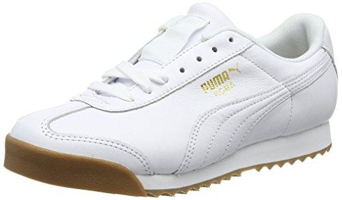 Puma Unisex-Erwachsene Roma Classic Gum Sneaker, Weiß White Team Gold, 46 EU