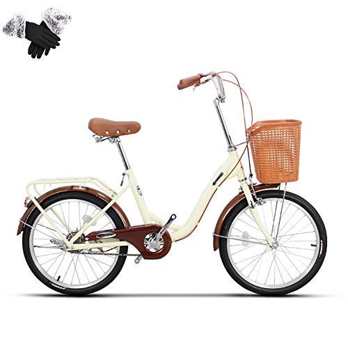 20/24 Zoll Cruiser Bequemes Damenrad, City Commuter Bike mit Frontkorb, Carbon Steel Frame, für Pendler und Outdoor-Ausflüge,Beige,20in