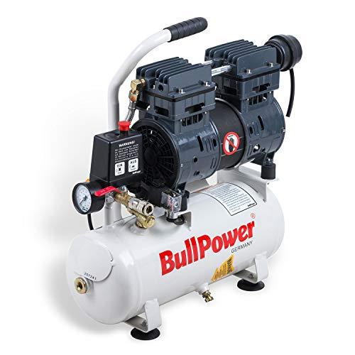BullPower Flüsterkompressor Silent DK-70 Druckluft Druckluftkompressor leise 63dB - 8bar - 9L - 140 L/min. 750W