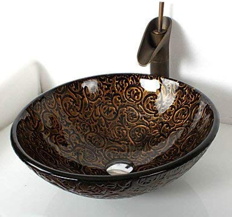 SEEKSUNG Waschbecken Antikes rundes Badezimmer Hartglas Sammelbehlter
