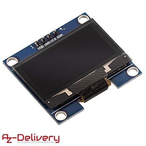 AZDelivery 128 x 64 Pixel 1,3 Zoll OLED I2C Display mit weißen Zeichen kompatibel mit Arduino und Raspberry Pi inklusive E-Book!