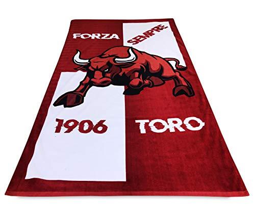 tex family Telo Mare Sport Forza Toro Misura Grande cm. 90 X 170 e Cartolina Torino È Stata e resterà Granata