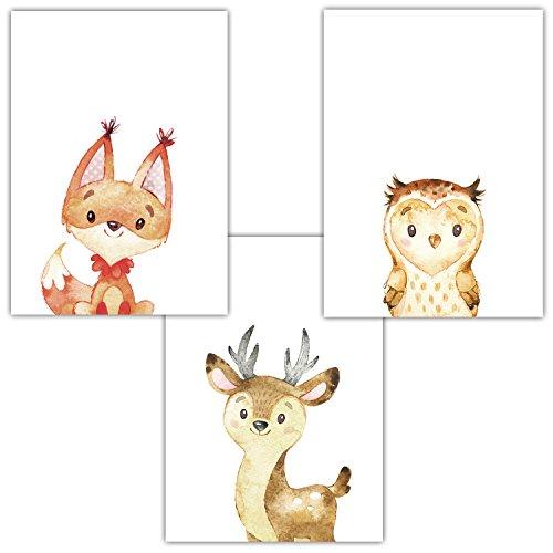 Frechdax® 3er Set Kinderzimmer Babyzimmer Poster Bilder DIN A4 | Waldtiere Portrait | Bär Fuchs REH Eule | Mädchen Junge Deko | Dekoration Kinderzimmer (3er Set Fuchs, Eule, REH)