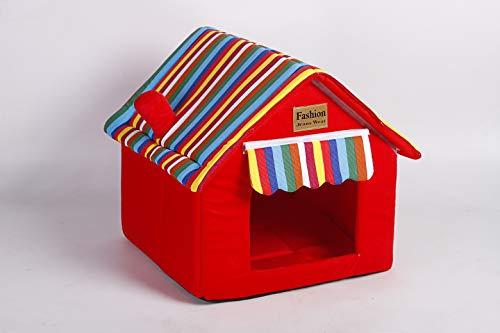 Gato Casa Perrera Puppy Condo Nido de conejo Tienda Bunny Bed Choza Plegable Extraíble lavable Gato Estera Cojín cálido para perros Interior portátil Suministros para mascotas, Pequeña 36*36*39cm