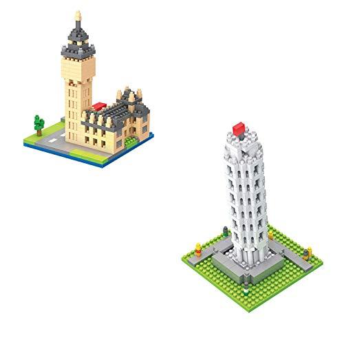 Block Toy - Juego de construcción para niños con bloques de construcción nano, famoso Big Ben Torre de tiro de Pisamodel, kit DIY Mini ladrillos, regalo