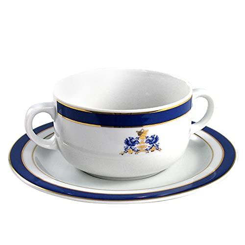 Juego de 6 tazas de consomé con dos asas, porcelana blanca decorado con oro y en azul cobalto   Duisburg con escudo 12 piezas