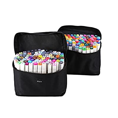 Yosoo 40, 60 or 80 Assorted Colors Alcohol Graphic Marker Pen Set, Dual Heads Animation Design Drawing Art Pen, Broad Fine Point Tip with Black Bag