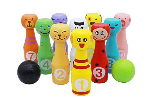 KanCai Bowling Kinder Holzspielzeug Kegelspiel Für Kinder Groß Bowlingset Mit 10 Kegeln Und 2 Bowlingkugeln Aus Holz Spielzeug Stapeln Blöcke Für Kinder