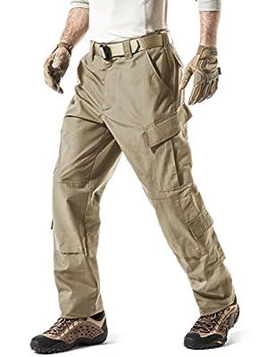 CQR Men's Tactical Pants, Military Combat BDU/ACU Cargo Pants, Water Repellent Ripstop Work Pants, Hiking Outdoor Apparel, Inspired Assault Pants(uap02) - Khaki, Large_Regular