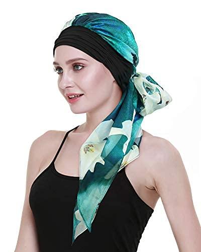 Desconocido Sciarpa oncologica donna foulard chemioterapia Turbante varie stampe cotone, modello 3, Taglia unica