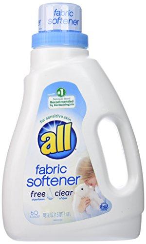 all Liquid Fabric Softener, Free Clear for Sensitive Skin, 48 Fluid Ounces, 60 Loads
