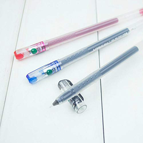 3 bolígrafos de punta de aguja de 0,4 mm, color rojo, negro, azul fino, tinta de gel superlisa, color rojo
