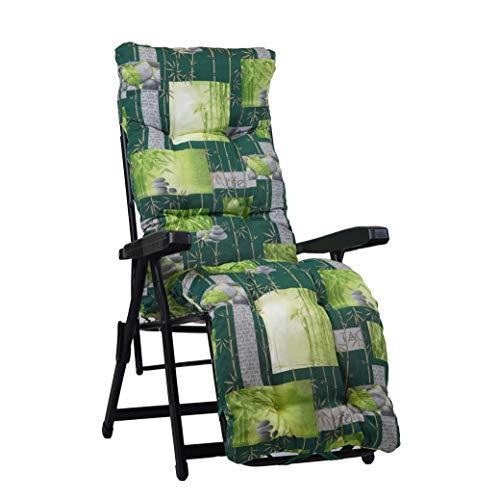 Tecnoweb Coussin de rechange ultra rembourré pour chaise longue avec repose-pieds - motif zen sur fond vert