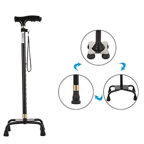 HHXX wandelkrukken Lichtgewicht aluminiumlegering wandelstokken met LED-lamp voor oudere mannen of vrouwen gehandicapte stok met 4 benen