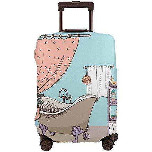 Reisegepäck-Abdeckungs-Karikatur-Art-Badezimmer-Duschwanne-Bunte Haus-Kinderzimmer-Koffer-Schutz Größe L
