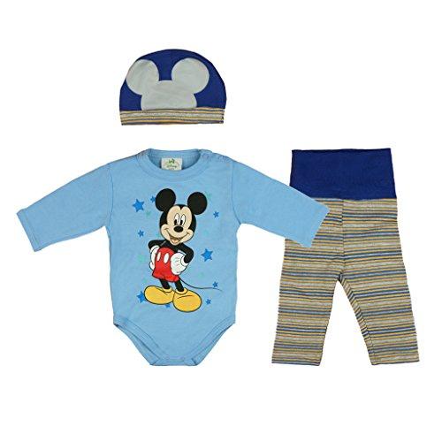 Disney Baby Mickey Mouse Jungen 3teiler Set warm dick leicht gefüttert, unterschiedliche Modelle, in Größe 56 62 68 74 80 86, Body, Hose und Mütze Farbe Modell 1, Größe 80
