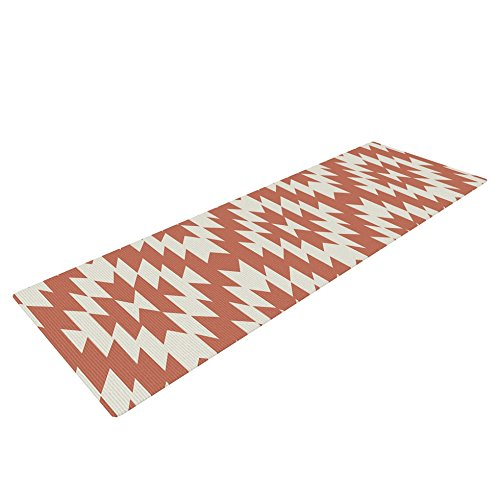 KESS InHouse Amanda Lane Navajo Toasted Coral Exercise Yoga Mat, Red Tribal, 72' by 24'