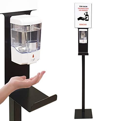 Dispensador de Gel Desinfectante de Manos Automático con Soporte de Pie con Cartela A4 y Bandeja Goteo para Comercios y Oficinas. Dosificador de Gel Hidroalcohólico Sin Contacto. Fabricado en España