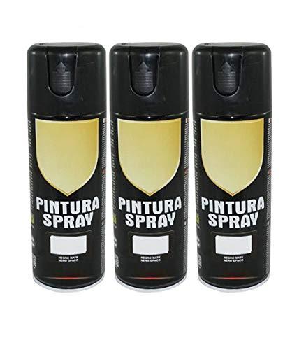 Pintura Spray Negro Mate 400 Ml - Pack de 3 Unidades