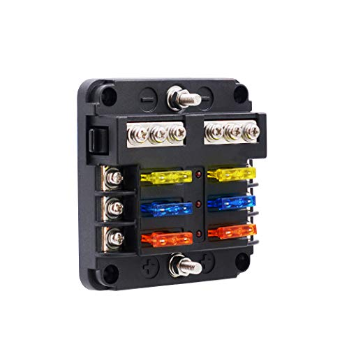 BlueFire 6 Way Blade Fuse Box Fuse Box Holder Standard Circuit Fuse Holder Box Block with LED Light Indication & Protection Cover for Car Boat Marine Trike Car Truck Vehicle SUV Yacht RV