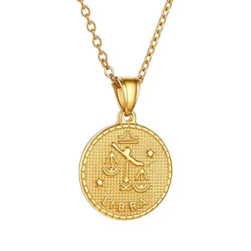 GoldChic Colgante Libra Oro Collar de Constelaciones Personalizables