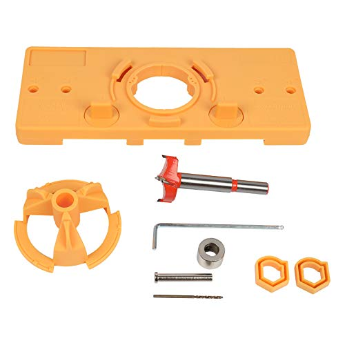 35mm Hinge Hole Jig Drill Guide Set, Closet Door Hole Jig, Puncher Hinge Drilling Tool Set, For Cabinet Door Installation,woodworking Boring Position Locator Tool Kit (Yellow)