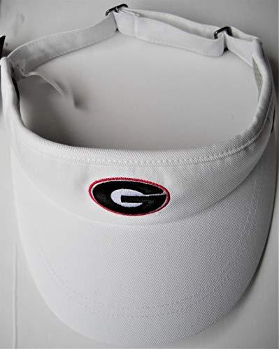 Georgia UGA Bulldogs Unisex Adult Adjustable White Dri-Fit Visor Cap Hat with Embroidred Oval G Logo