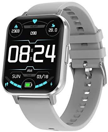ZHAG Smart Watch Men's y Women's ECG 1.78 Pulgadas, HD 2.5D IP68 Pedómetro a Prueba de Agua Sportwatch SmartWatch, iOS Compatible/Sistema Android,Silver1