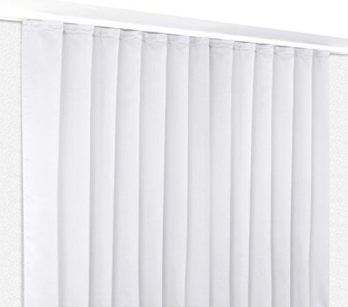 Verdunkelungsgardine mit Kräuselband, blickdichter Vorhang 300x245 cm Farbe wählbar, Weiß